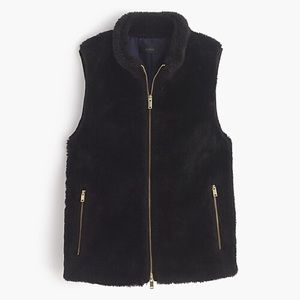 J. Crew Black Plush Fleece Excursion Vest
